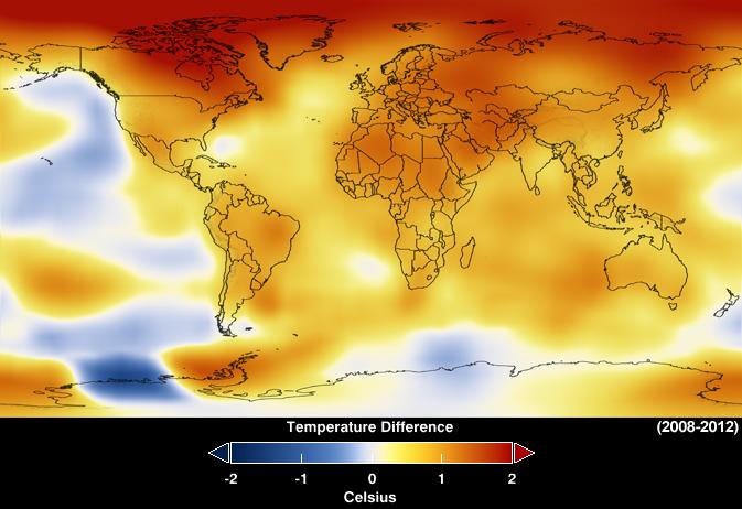 Mapa divulgado pela Nasa mostra anomalias na temperatura global entre 2008 e 2012