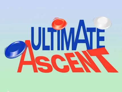 Three flying discs next to the words Ultimate Ascent