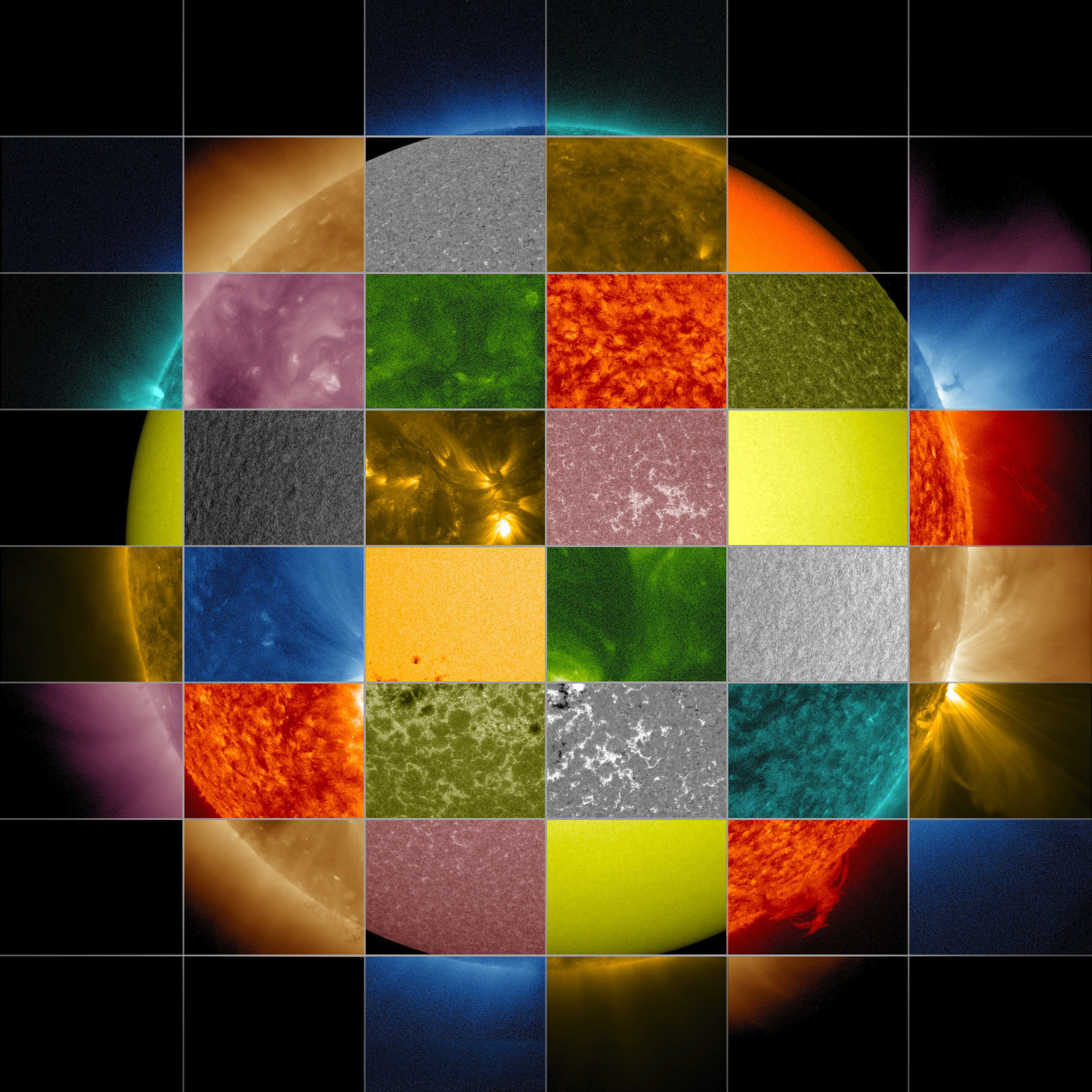 This collage of solar images from NASA's Solar Dynamics Observatory (SDO) shows how observations of the sun in different wavelengths helps highlight different aspects of the sun's surface and atmosphere. (The collage also includes images from other SDO instruments that display magnetic and Doppler information.) Credit: NASA/SDO/Goddard Space Flight Center