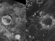 A new (left) and an old (right) crater on Titan