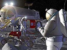 This artist's concept shows astronauts and a robot working together to explore the lunar surface.