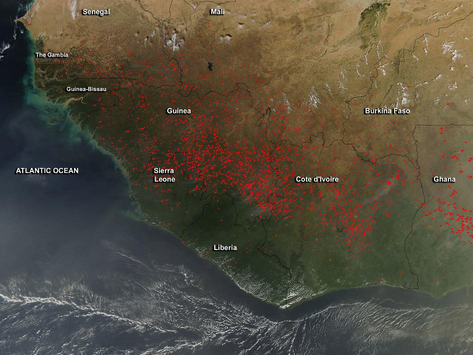 satellite image of fires in western Africa
