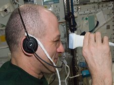 Astronaut Don Pettit performs Ultrasound Eye Imaging during Expedition 30, as part of the continued research involving vision changes experienced by some astronauts during long-duration stays in microgravity. This research is similar to the Advanced Diagnostic Ultrasound in Microgravity (ADUM) investigation previously completed on the station, one of the many investigations students researched for the ISS Science Challenge.. (NASA)