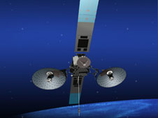 TDRS-K spacecraft rendering in orbit