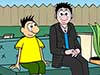Cartoon of Merav Opher and Kyo sitting on a couch during a Space Place Live! Interview