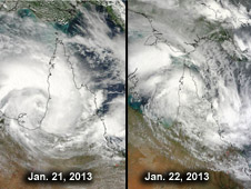 These two images of Tropical Storm Oswald show the storm's progression and deterioration over the Cape York Peninsula, Queensland.
