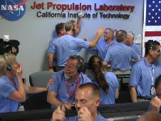 JPL mission control room after the successful landing of the Mars Curiosity rover