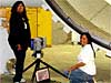 Two Navajo Tech students use a laser scanner to take measurements at NASA's Marshall Space Flight Center