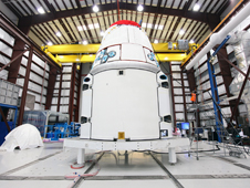 The SpaceX Dragon spacecraft with its newly attached solar array fairings