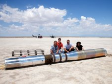 The Hi C recovering team poses for a photo with the payload.