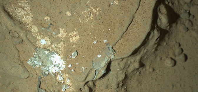 This image of a Martian rock illuminated by white-light LEDs (light emitting diodes)
