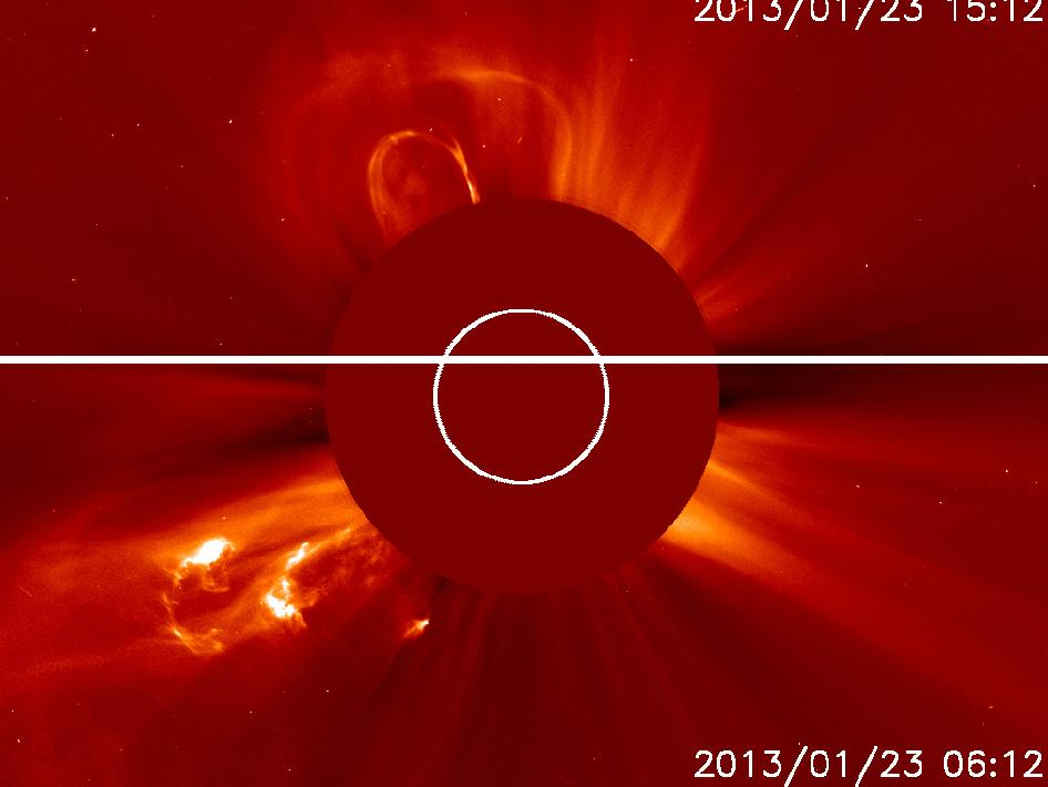 Top, shows the second CME at 09:55am EST. Bottom, shows the first CME at
