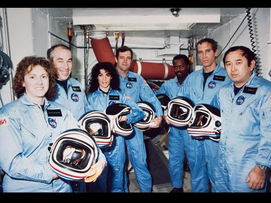 Left to right are Teacher-in-Space payload specialist Sharon Christa McAuliffe; payload specialist Gregory Jarvis; and astronauts Judith A. Resnik, mission specialist; Francis R. (Dick) Scobee, mission commander; Ronald E. McNair, mission specialist; Mike J. Smith, pilot; and Ellison S. Onizuka, mi