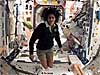 Astronaut Suni Williams floats inside the space station