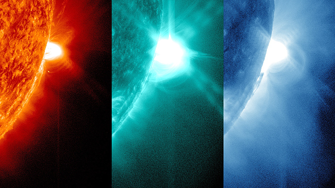 SDO captured images of the July 19, 2012 solar flare in numerous wavelengths, three of which are shown here.