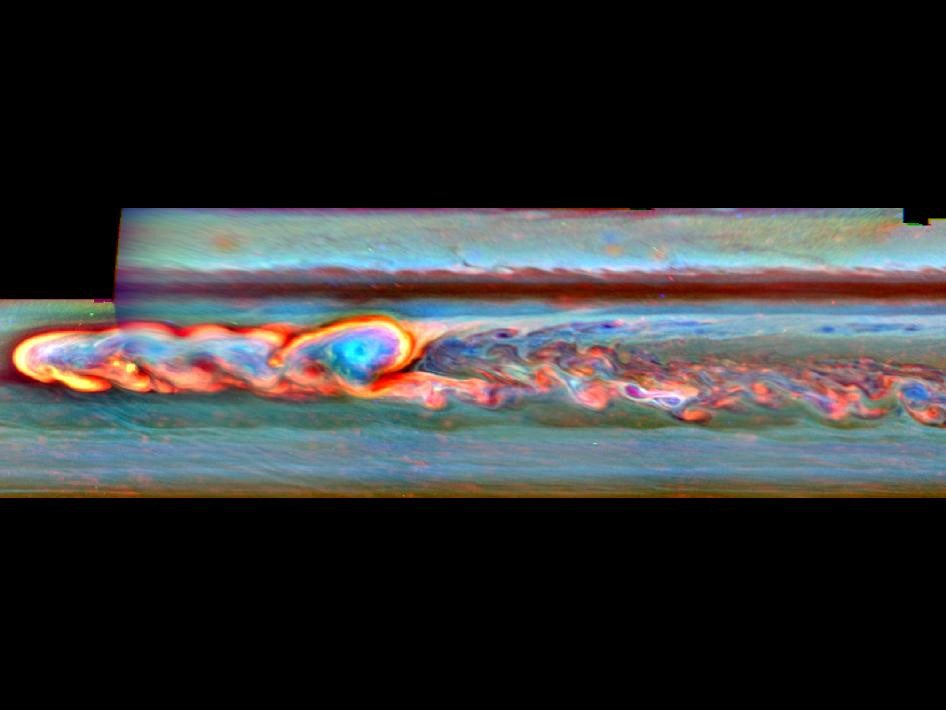 This mosaic of false-color images from NASA's Cassini spacecraft shows what a giant storm in Saturn's northern hemisphere looked like about a month after it began. Image credit: NASA/JPL-Caltech/SSI/Hampton University