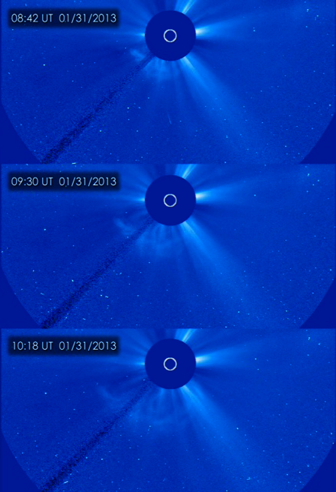 SOHO captured these image of a CME erupting on the left side of the sun early in the morning of Jan 31, 2013.