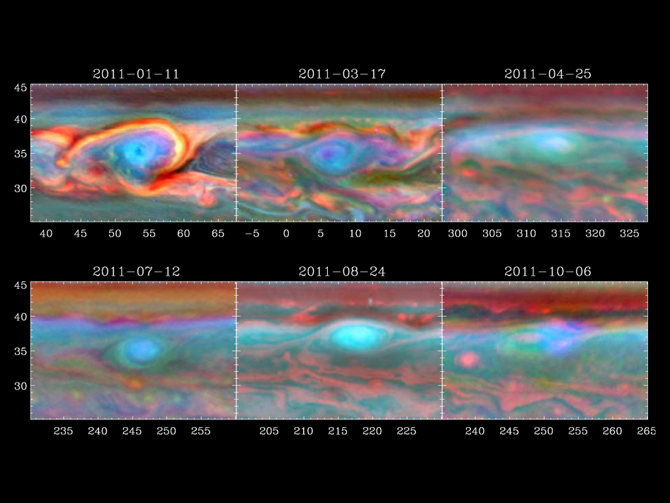 A vortex that was part of a giant storm on Saturn slowly dissipates over time in this set of false color images from NASA's Cassini spacecraft. Image credit: NASA/JPL-Caltech/SSI/Hampton University