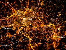 This image taken on Dec. 8, 2012, with the European Space Agency, or ESA, NightPod camera, shows the city of Liège, Belgium, as it appears at night from the vantage point of the International Space Station. (ESA/NASA)