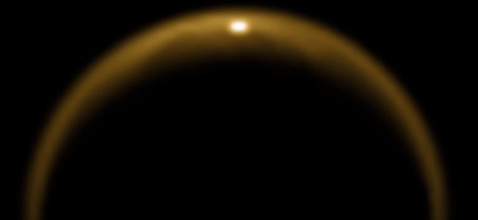 Sunlight reflected off a lake on Saturn's moon Titan
