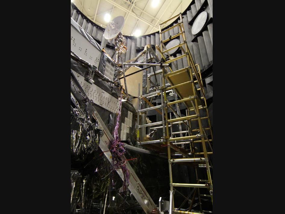 The GPM Core Observatory being prepared to leave the TVAC chamber.