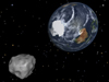 Artist's concept of asteroid 2012 DA14 and Earth