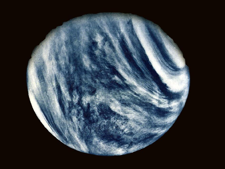 Made using an ultraviolet filter in its imaging system, the photo has been color-enhanced to bring out Venus's cloudy atmosphere as the human eye would see it.