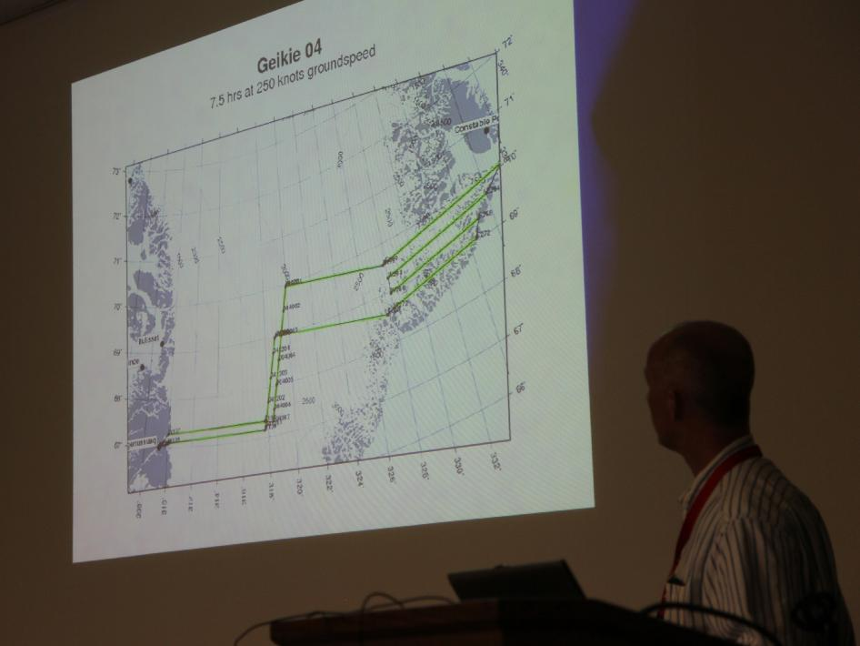 John Sonntag shows proposed flight plans for 2013 Arctic campaign.