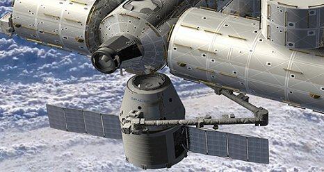 Artist rendering of SpaceX Dragon spacecraft berthing to nadir Common Berthing Mechanism on the Harmony module of the International Space Station. (NASA)