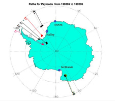 BARREL Antarctica 2013 payload paths.