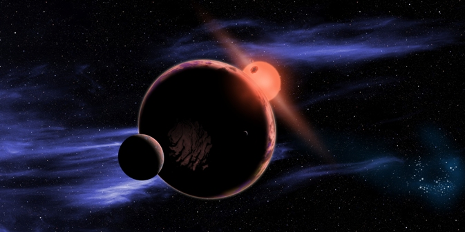 Artist's conception of a hypothetical planet with two moons orbiting a red dwarf star.