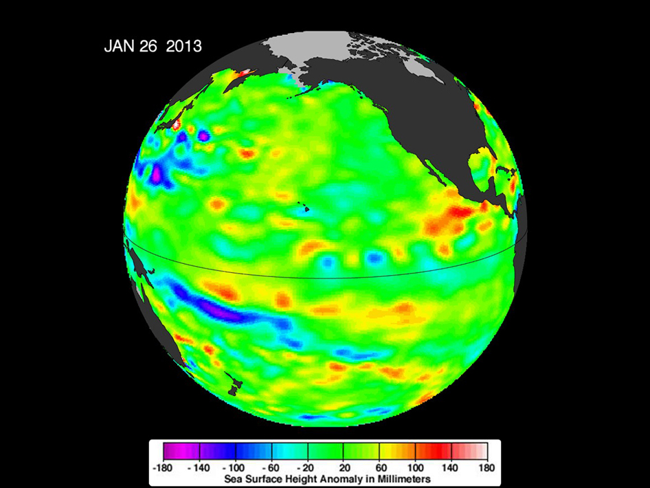 Sea surface heights in the Pacific Ocean from NASA's Jason-1 satellite