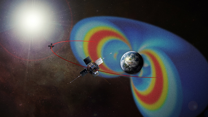 This artist's rendering of the Van Allen Probes mission shows the path of its two spacecraft through the radiation belts that surround Earth, which are made visible in false color.