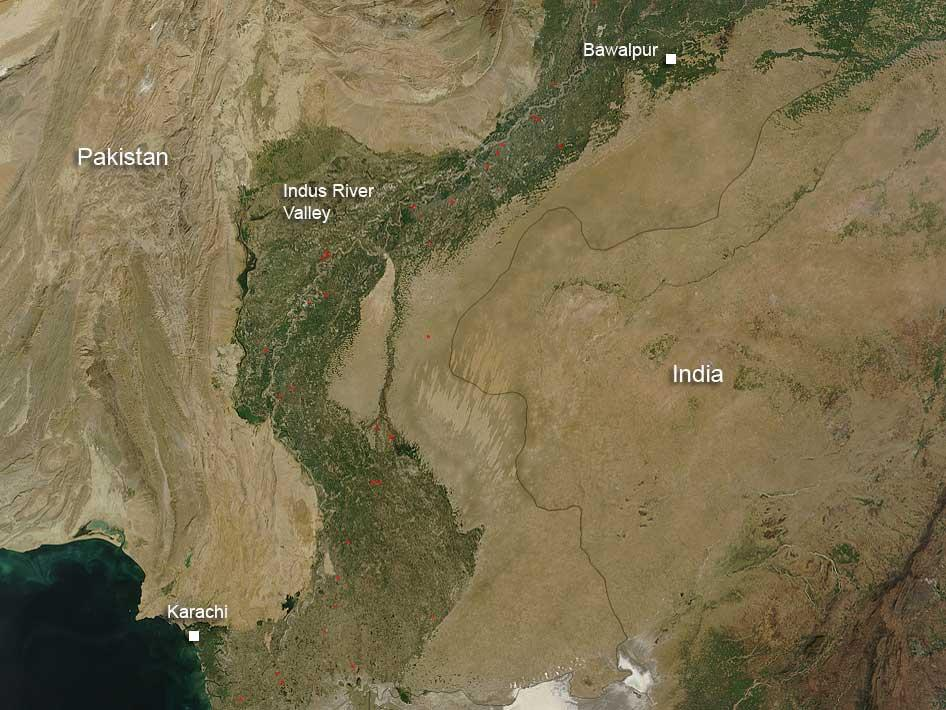 NASA - Fires in the Indus River Valley, Pakistan