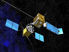 This artist's concept shows a servicing spacecraft, left, approaching a client satellite. NASA is developing technology needed to bring a high-technology