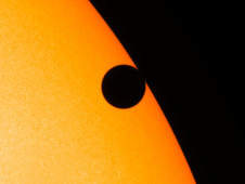 This image was taken by SDO just as Venus was leaving the disk of the sun at 12:15 a.m. EDT on Jun. 6, 2012.