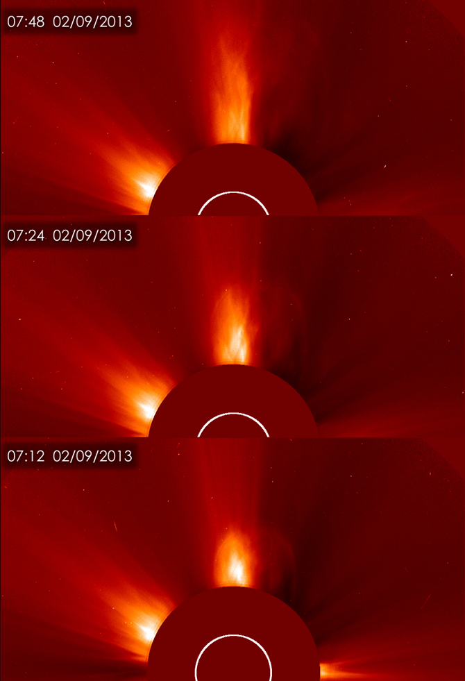 Views over time of the CME release by the sun on Feb. 9, 2013.