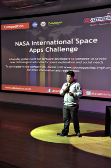 U.S. Embassy Jakarta partnered with NASA to bring the International Space Apps Challenge to Indonesia April 21–22, 2012, at high-tech cultural center @america.