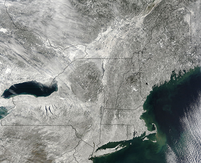 satellite image of New England snowfall