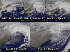 collage of satellite images depicting February 2013 nor'easter