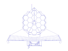 Line drawing of the James Webb Space Telescope.