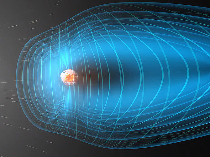A constant stream of particles and electromagnetic waves streams from the sun toward Earth, which is surrounded by a protective bubble called the magnetosphere.