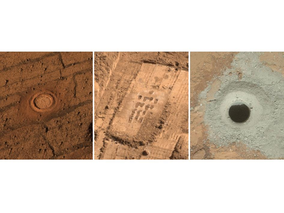 This set of images from Mars shows the handiwork of different tools on three missions to the surface of Mars
