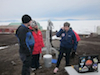 NASA Ames scientists Brian Glass and Margarita Marinova, and National Science Foundation representative Julie Palais, operated the Icebreaker drill at the McMurdo Research Station in the Antarctic.