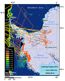 Compilation map of the IceBridge Antarctic 2012 field campaign flights.