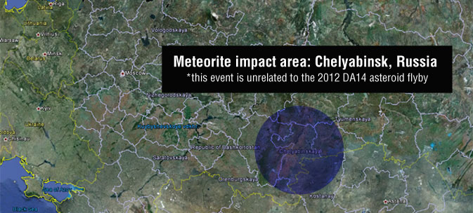 Map showing the meteorite impact area