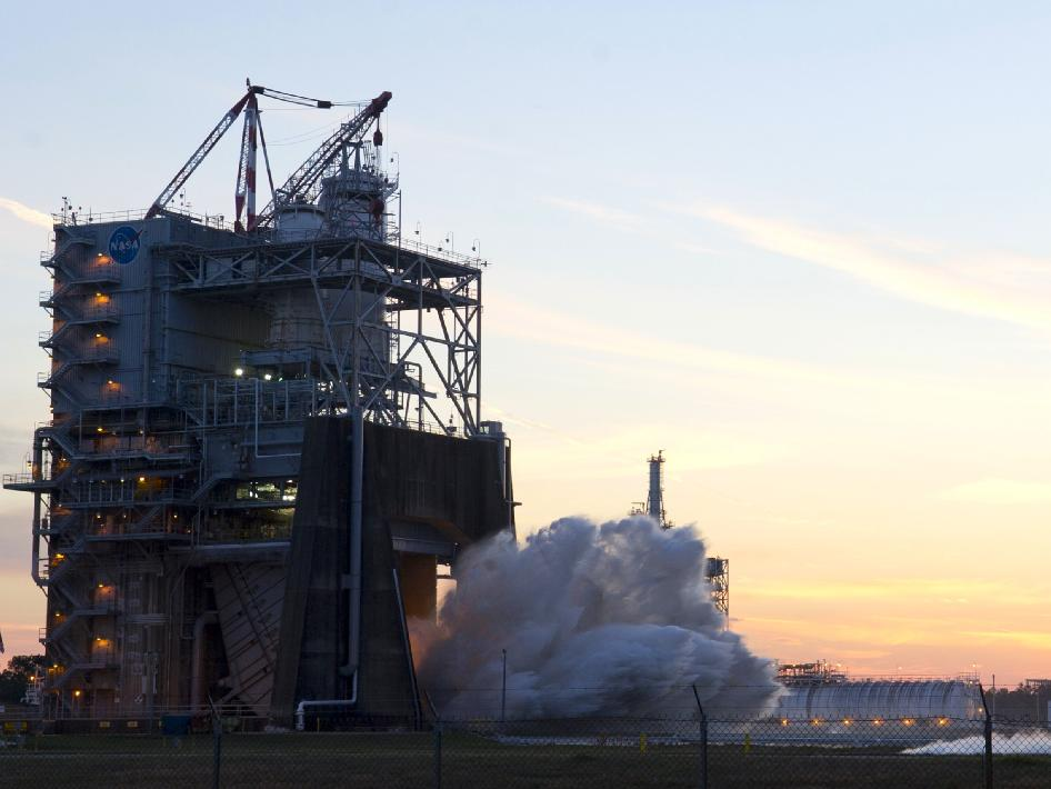 NASA engineers conducted the first in a new round of tests on the next generation J2X rocket engine Feb. 15 at Stennis Space Center.