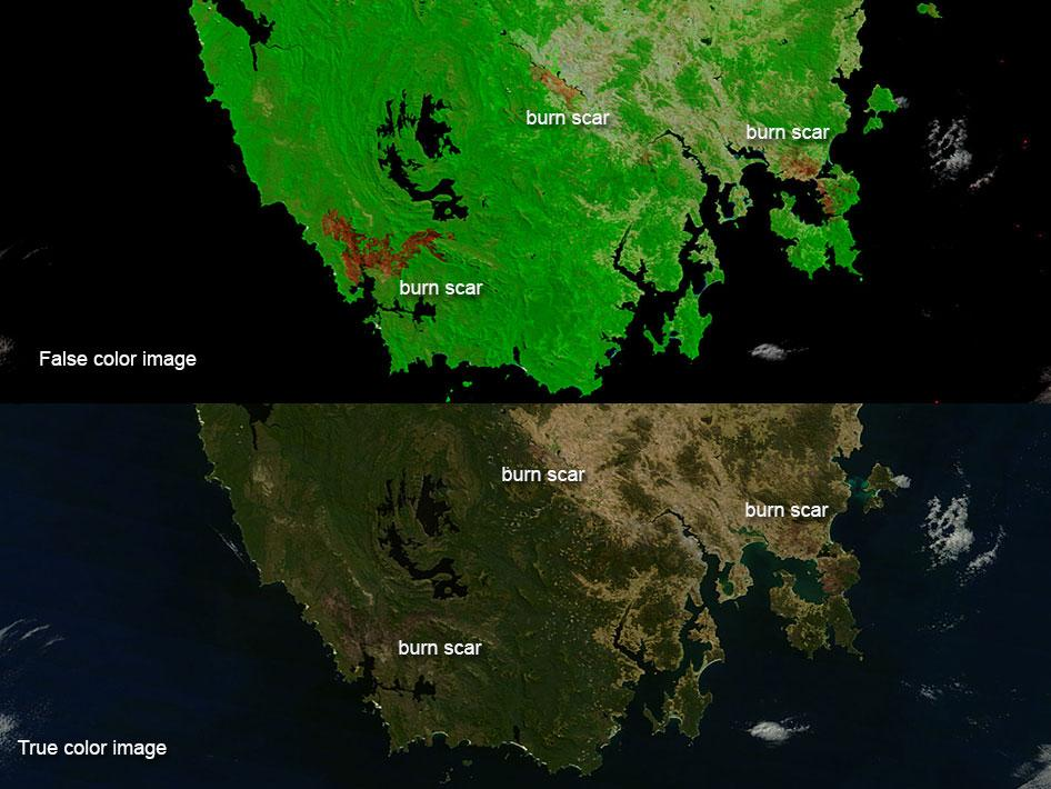 Burn scars on Tasmania