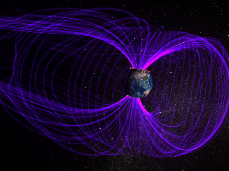 Earth is surrounded by a giant magnetic bubble, called the magnetosphere.