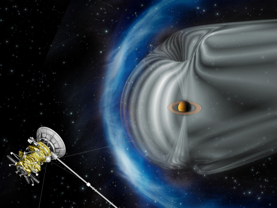 Artist's impression by the European Space Agency shows NASA's Cassini spacecraft exploring the magnetic environment of Saturn